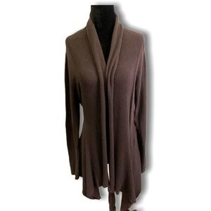 11 Sisters Brown Cotton Blend Open Front Cardigan